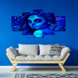 Calavera Fresh Look Design #2 5-Panel Haiku Canvas Wall Art  - FREE SHIPPING