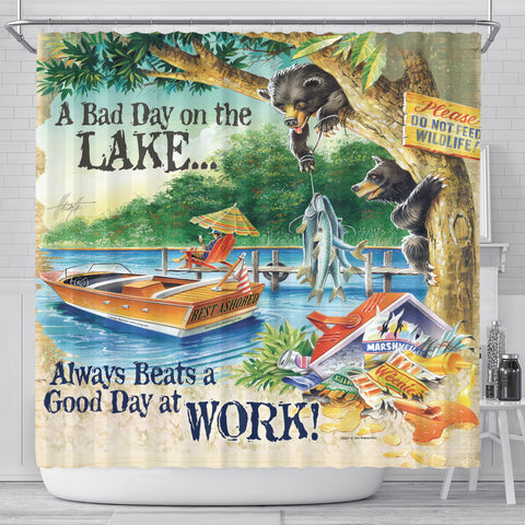 Jim Mazzotta Signature Line - A Bad Day On The Lake - Shower Curtain - FREE SHIPPING