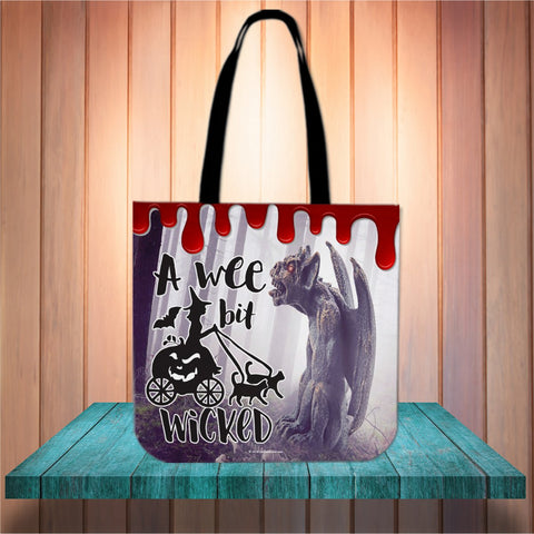 A Wee Bit Wicked Halloween Trick Or Treat Cloth Tote Goody Bag