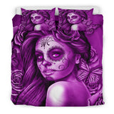 Calavera Fresh Look Design #2 Duvet Cover Set (Purple Night Owl Rose) - FREE SHIPPING
