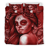 Calavera Fresh Look Design #2 Duvet Cover Set (Red Freedom Rose) - FREE SHIPPING