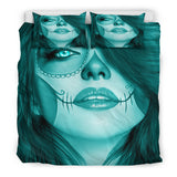 Calavera Fresh Look Design #3 Duvet Cover Set (Ice Blue Aquamarine) - FREE SHIPPING