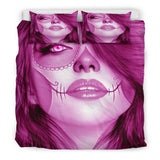 Calavera Fresh Look Design #3 Duvet Cover Set (Pink Mystic Topaz) - FREE SHIPPING