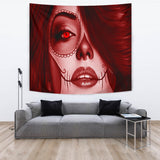 Calavera Fresh Look Design #3 Wall Tapestry (Red Garnet) - FREE SHIPPING