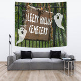 Sleepy Hollow Cemetery - Halloween Wall Tapestry - FREE SHIPPING