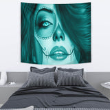 Calavera Fresh Look Design #3 Wall Tapestry (Ice Blue Aquamarine) - FREE SHIPPING