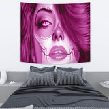 Calavera Fresh Look Design #3 Wall Tapestry (Pink Mystic Topaz) - FREE SHIPPING