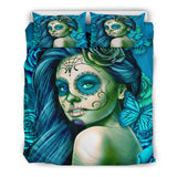 Calavera Fresh Look Design #2 Duvet Cover Set (Turquoise Tiffany Rose) - FREE SHIPPING