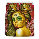 Calavera Fresh Look Design #2 Duvet Cover Set (Yellow Smiley Face Rose) - FREE SHIPPING