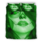 Calavera Fresh Look Design #3 Duvet Cover Set (Green Emerald) - FREE SHIPPING