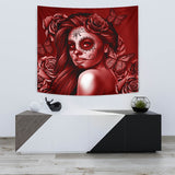 Calavera Fresh Look Design #2 Wall Tapestry (Red Freedom Rose) - FREE SHIPPING