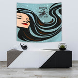 Broom Hair Don't Care Design #1 - Halloween Wall Tapestry - FREE SHIPPING