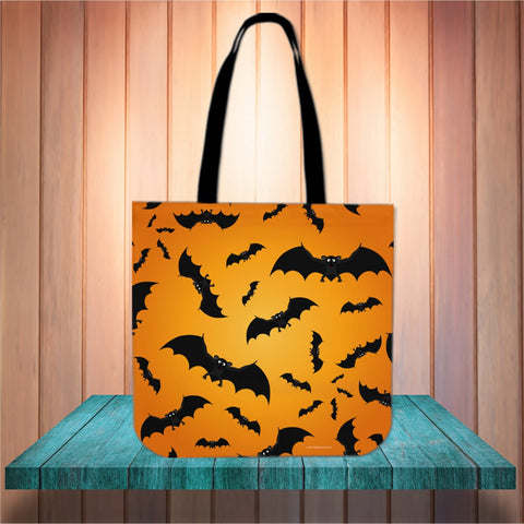 Bats Halloween Trick Or Treat Cloth Tote Goody Bag