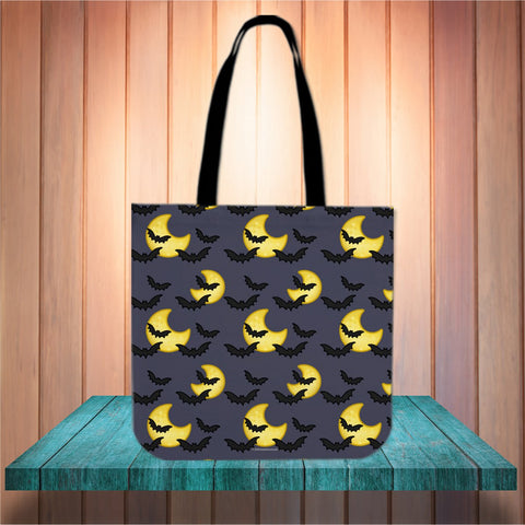 Bats & Moons (Grey) Halloween Trick Or Treat Cloth Tote Goody Bag