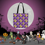 Bats & Moons (Purple) Halloween Trick Or Treat Cloth Tote Goody Bag