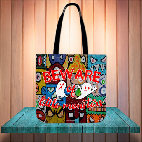 Beware Of Little Monsters Halloween Trick Or Treat Cloth Tote Goody Bag