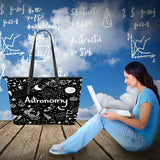 Astronomy Chalkboard Large Leather Tote