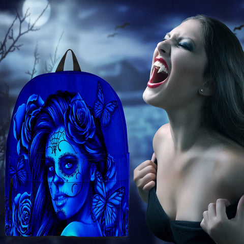 Calavera Fresh Look Design #2 Backpack (Blue Elusive Rose) - FREE SHIPPING