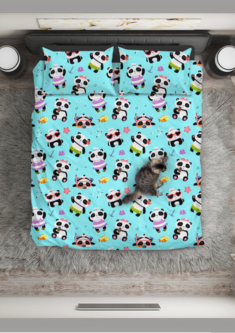 Cute Pandas Design #1 Duvet Cover Set (Blue) - FREE SHIPPING