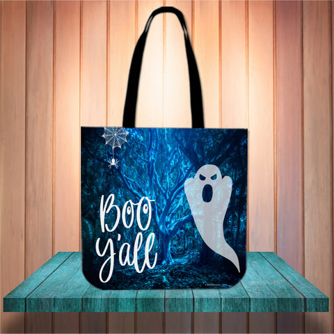 Boo Y'All Halloween Trick Or Treat Cloth Tote Goody Bag