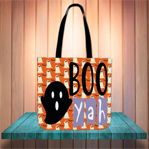 Boo Yah Halloween Trick Or Treat Cloth Tote Goody Bag