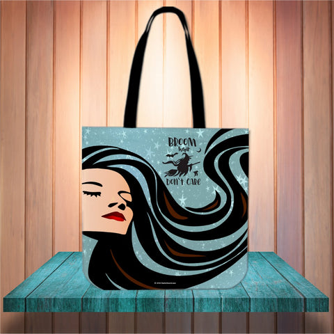Broom Hair Don't Care Halloween Trick Or Treat Cloth Tote Goody Bag