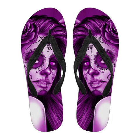 Calavera Fresh Look Design #2 Women's Flip-Flops (Purple Night Owl Rose)