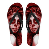 Calavera Fresh Look Design #2 Women's Flip-Flops (Red Freedom Rose)