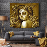 Calavera Fresh Look Design #2 Wall Tapestry (Hazel Sparkle & Shine Rose) - FREE SHIPPING