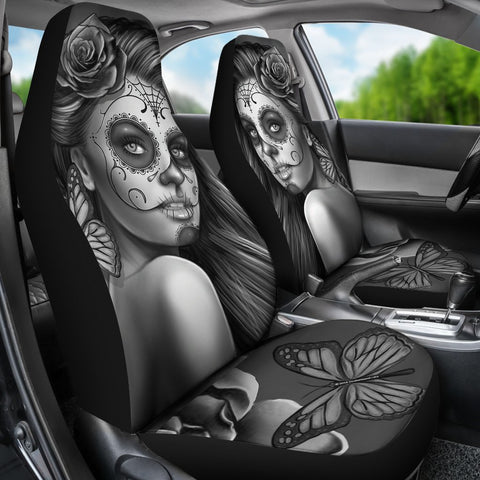 Calavera Fresh Look Design #2 Car Seat Covers (Vintage Retro)  - FREE SHIPPING