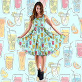 Cocktail Drinks Party Midi Dress (Blue) - FREE SHIPPING