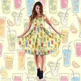 Cocktail Drinks Party Midi Dress (Yellow) - FREE SHIPPING