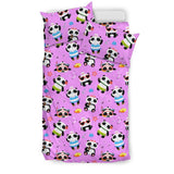 Cute Pandas Design #1 Duvet Cover Set (Pink) - FREE SHIPPING