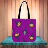Cute Witches Halloween Trick Or Treat Cloth Tote Goody Bag (Purple)