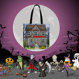 Derelict House Halloween Trick Or Treat Cloth Tote Goody Bag