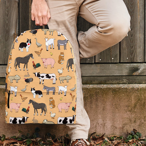 Farm Animals Design #1 Backpack (Light Orange) - FREE SHIPPING