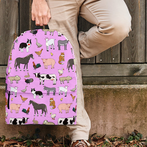 Farm Animals Design #1 Backpack (Light Pink) - FREE SHIPPING