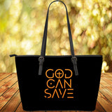 God Can Save Large Leather Tote (Black)