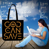 God Can Save Cloth Tote (Black)