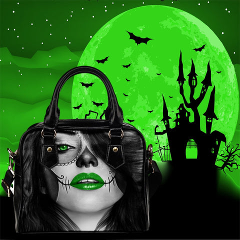 Calavera Fresh Retro Goth Look Design #4 Shoulder Hand Bag!