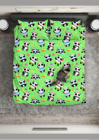 Cute Pandas Design #1 Duvet Cover Set (Green) - FREE SHIPPING