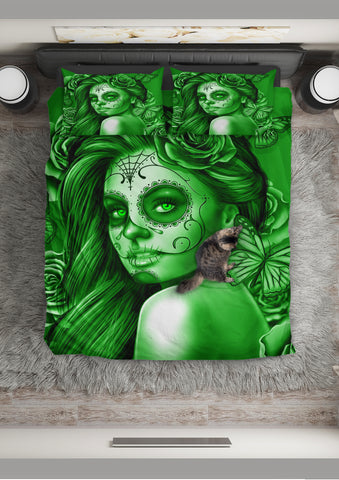 Calavera Fresh Look Design #2 Duvet Cover Set (Green Lime Rose) - FREE SHIPPING