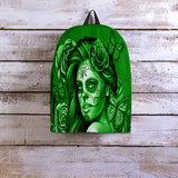 Calavera Fresh Look Design #2 Backpack (Green Lime Rose) - FREE SHIPPING