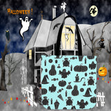 Halloween Icons Halloween Trick Or Treat Cloth Tote Goody Bag (Light Blue)