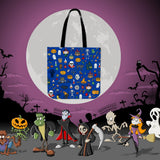Halloween Pattern (Blue) Halloween Trick Or Treat Cloth Tote Goody Bag