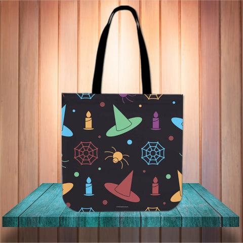 Hats & Spiders Halloween Trick Or Treat Cloth Tote Goody Bag