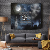 Keep Away - Haunted House - Halloween Wall Tapestry - FREE SHIPPING