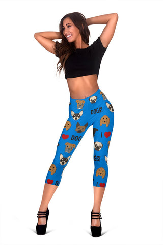 I Love Dogs Capri Leggings (FPD Blue) - FREE SHIPPING