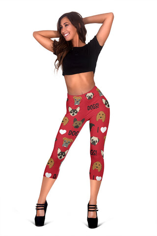 I Love Dogs Capri Leggings (Red) - FREE SHIPPING