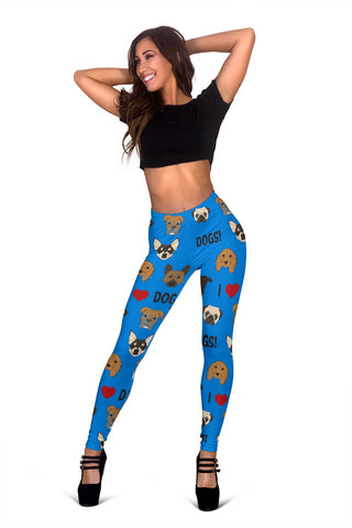 I Love Dogs Leggings (FPD Blue) - FREE SHIPPING